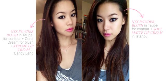 swatch demo NYX cosmetics blush lip cream